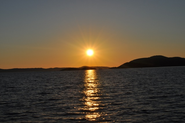 Sun setting over islands on the Adriatic